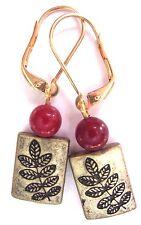 Ox Brass Leaf Red Jade Drop Dangle Gold Interchangeable Leverbacks Earrings USA