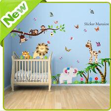 Animal Wall Stickers Monkey Jungle Zoo Tree Nursery Baby Kids Bedroom Decals Art
