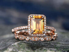 2ct Emerald Cut Yellow Citrine & Diamond 14k Rose Gold Plated Bridal Ring Set