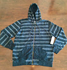 Kinetix Zip Hoodie in Black & Gray Stripes  Mens size XL NWT