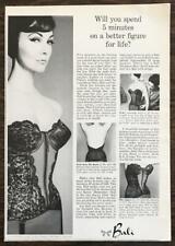 1963 Bali Brassiere Co NYC Print Ad Bali-Hi Basque Strapless Bra Corset