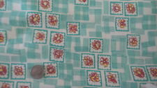 Vintage Feedsack Feed Sack Fabric TURQUOISE STRIPE RECTANGLES,YELLOW RED FLORAL