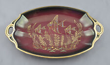 Empire England Burgundy Tray Painted Fish Pattern Gold Edge 754