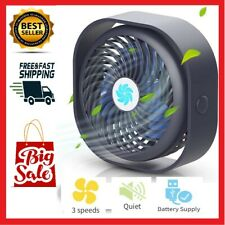 "4"" Small Desk Table Fan Personal USB Air Circulator Mini Portable Retro & Quiet"