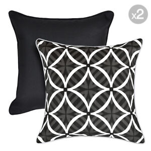 Set of 2. Kona Ash + Coolum Ash Reverse Outdoor Cushion Covers with Piping