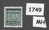 #1749   MH 1939 Overprint stamp 25 Hal BaM Protectorate / Third Reich occupation