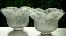 More details for pair antique glass lamp light shades.etched butterflies/floral.fit 2 3/4