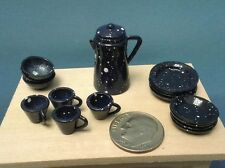 Dollhouse Miniature Blue Splatter Ware 18 pc plates bowls coffee pot cups 1:12