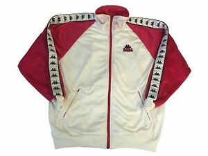 Vintage Kappa Track Jacket Taped Sleeved Zip Up Jumper Pink, White Size Large L