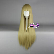 Blonde Straight Long Wig Hair Costume Anime Cosplay Wig with Bangs + Wig Cap