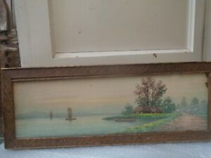 Very nice antique watercolour painting with wooden frame  MYSTERY PAINTING  look