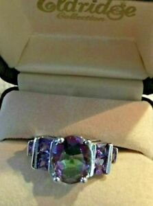 5ct.  Oval Alexandrite & Amethyst Band Ring in 14kt
