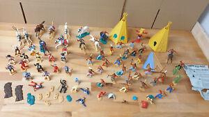 Konvolut Timpo Toys Western Figuren Cowboys, Indianer, Zelte