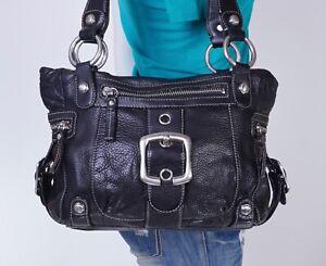 B.MAKOWSKY Large Black Leather Shoulder Hobo Tote Satchel Purse Bag