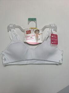 Hanes Girls Value 2Pack Bras Wide Back Banded Bra White Gray Stars Soft NewSMALL