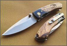 ROUGH RIDER WOOD HANDLE LINERLOCK FOLDING KNIFE RAZOR SHARP BLADE WITH CLIP