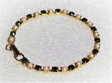 "Black Rhinestones & Simulated Pearls Gold Tone Bracelet 7.5"" ""CHRISTMAS GIFT!!"""