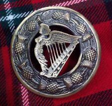 "Traditional Scottish Thistle Kilt Fly Plaid Brooch Celtic Harp Antique 3""/Pins"