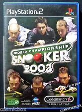 World Championship SNOOKER 2003 jeu console SONY PlayStation 2 PS2 complet testé