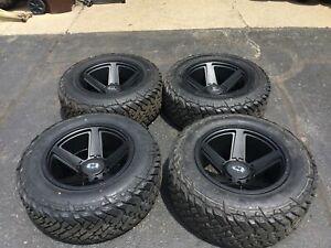 "Set 4 20"" Wheels/Tires Vision Empire 6x135 Satin Black w/ 35"" Fuel Gripper MT"