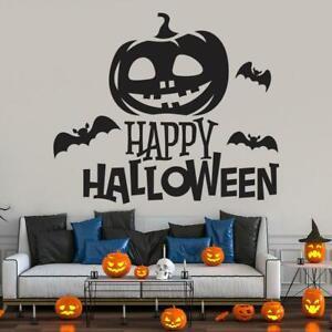 Happy Halloween Pumpkin Wall Scene Sticker Vinyl Decal Door Window Decoration