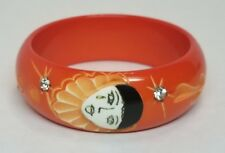 Vintage French Carved Galalith Bakelite Pierrot Rhinestone Bangle Bracelet