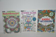 Kappa Adult Coloring Books Designer Series Lot of 3 Kaleidoscope Stained Glass