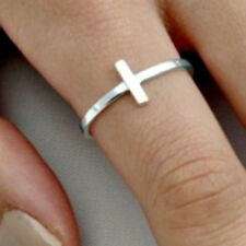 .925 Sterling Silver Ring size 10 Side Cross Christian New Womens Ladies p71