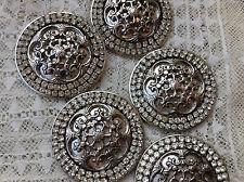 MAXI bottone gioiello strass swarovsky ARGENTO ANNI 60 vintage BUTTON BOUTON