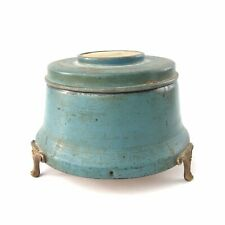 Vtg Blue Aluminum Powder Puff Footed Lidded Music Box Plays Viennese Waltz