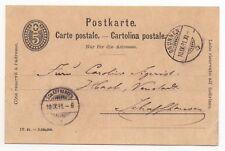 1891 SWITZERLAND Cover BRUNNEN to SCHAFFHAUSEN Stationery Postcard 5c