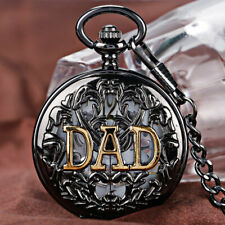 Retro Golden DAD Hollow Black Wind Up Hand Winding Mechanical  Pocket Watch Gift