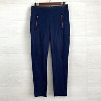 Cartonnier SZ 4 Anthropologie Navy Blue Textured Knit Slim Crop Trouser Pants