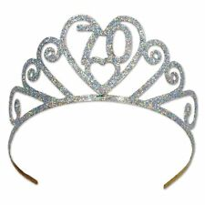 70th Birthday Party (Age 70) Glittered Sparkle Tiara Crown - New