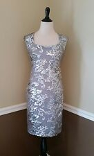 NEW Modcloth Dress 4 Gray & Silver Sequin Sheath Open Back Who Glitz Me Marina