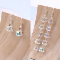 Chic Women Crystal Cube Pendant Earrings Long Tassel Ear Drop Jewelry Ornament