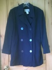 L.L. Bean Navy Blue Insulated Wool/Cashmere Double Breasted Peacoat, Womens 10
