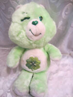 "VINTAGE 1983 Care Bears GREEN GOOD LUCK BEAR 15"" Plush Soft Toy Stuffed Animal"