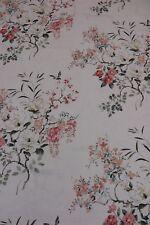 SANDERSON CURTAIN FABRIC DESIGN Magnolia & Blossom 3.45 METRES CORAL AND SILVER