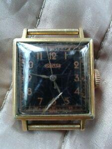 ROAMER vtg Swiss Art Deco watch black dial copper indices 3735 spares or repair