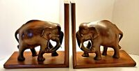 """2 Vintage Hand Carved Wooden Elephant Bookends 8"""""""" Tall """" Long"""