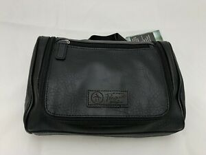 Original Penguin Mens Black Leather Hanging Travel Kit Toiletry Bag NWT
