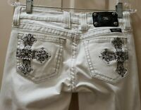Miss Me Boot WHITE denim Jeans. Size 28 Rise 7.5 Waist 15=30X30 Hemed