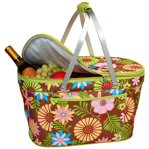 Picnic at Ascot Floral Collapsible Insulated Basket (400-F)