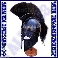 Medieval Ancient Costume Armour Roman Greek Corinthian Helmet with Black Plume