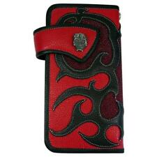 NEW SILVER SKULL TATTOO GENUINE RED STINGRAY LEATHER BIKER ROCKER MENS WALLET