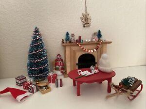 Miniature Lot Dollhouse Christmas Tree Wooden Fireplace Presents Candle Santa