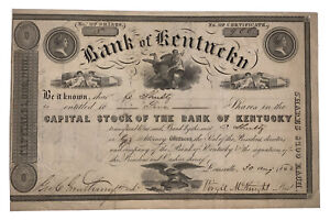 1842, BANK OF KENTUCKY, STOCK CERTIFICATE, SIGNED, SCRIPOPHILY, NO RESERVE