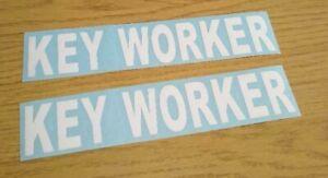 set of 2 KEY WORKER VINYL GRAPHIC CAR STICKER WHITE