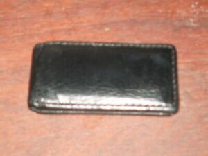COACH Black Smooth Leather MAGNETIC Folding Money Clip